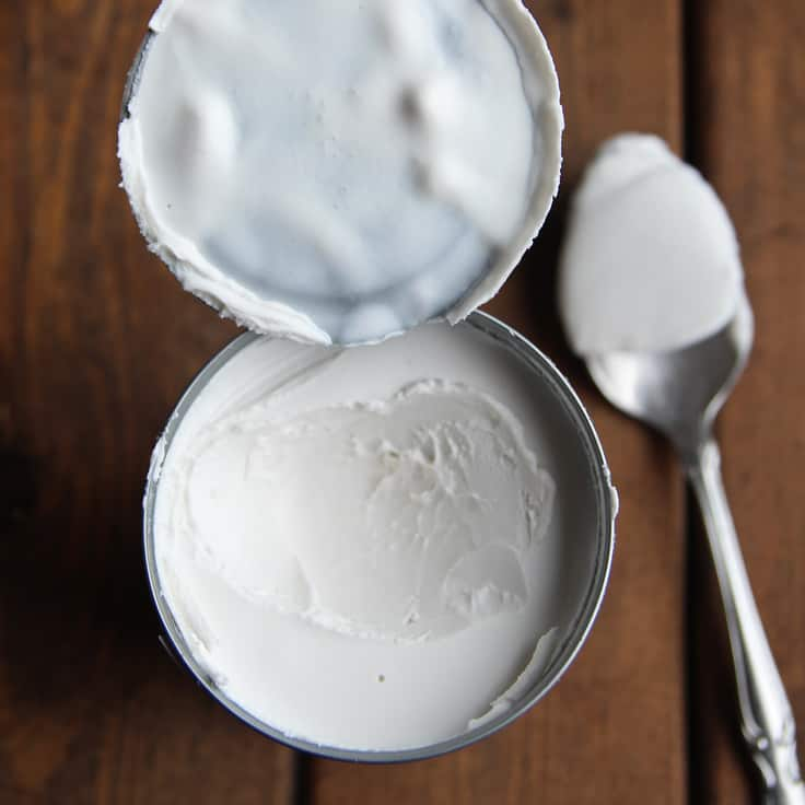 Opened can of coconut milk for whipped coconut cream