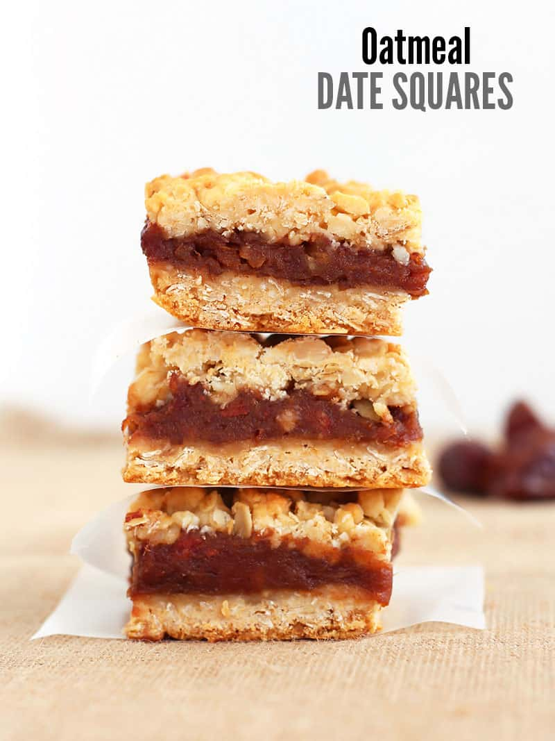 These sweet oatmeal date bars are a perfect afternoon treat. The squares consist of a honey-sweetened oatmeal crust, a creamy date filling with an oatmeal crumb topping.