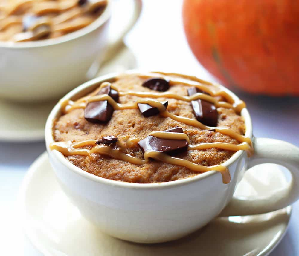 This 1 Minute Pumpkin Spice Mug Cake is SO delicious! For this fantastic recipe you just need a mug (no bowl required), a handful of ingredients and after just 1 minute in the microwave you can enjoy a warm and moist pumpkin spice cake.