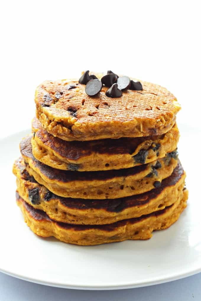 Pumpkin Chocolate Chip Oatmeal Cookie Pancakes are whole wheat pumpkin ...