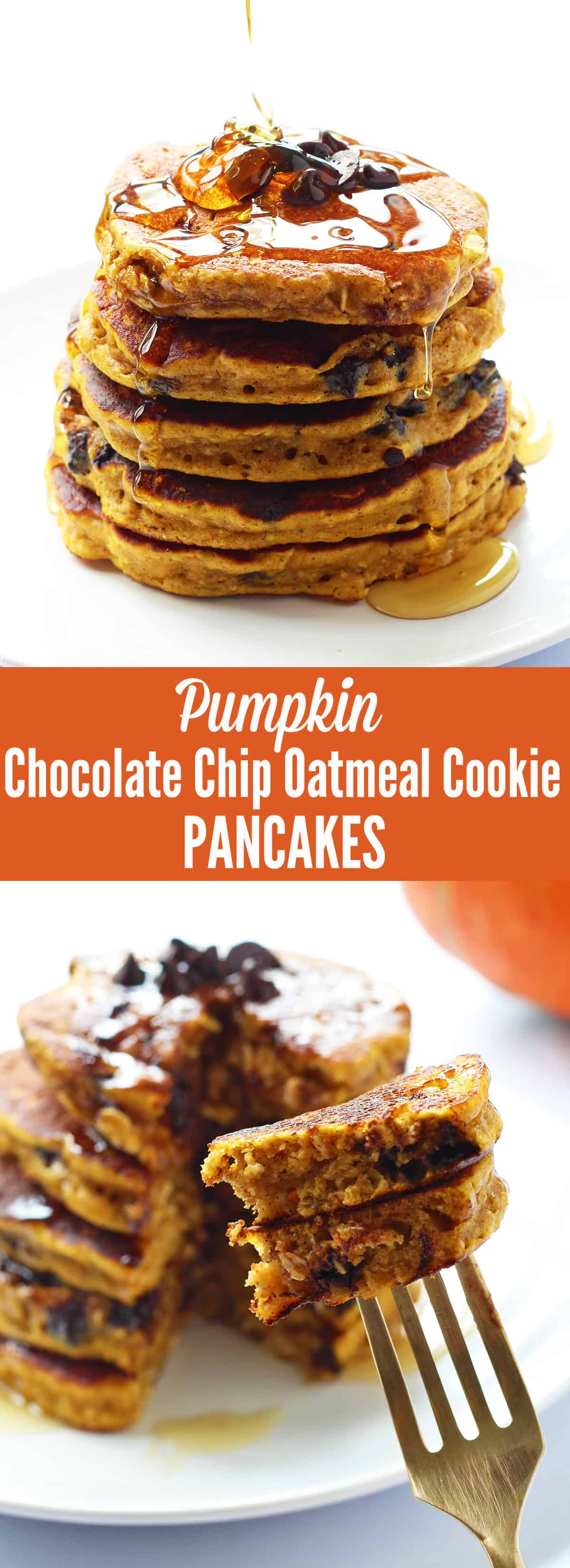 Pumpkin Chocolate Chip Oatmeal Cookie Pancakes are whole wheat pumpkin pancakes that taste just like a chocolate chip oatmeal cookie. They are easily whipped up in the blender and use no refined sugar.