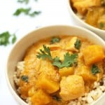 This delicious Thai Yellow Coconut Curry with Chicken and Squash is heavenly comfort food. Aromatic, a little exotic and not too spicy.
