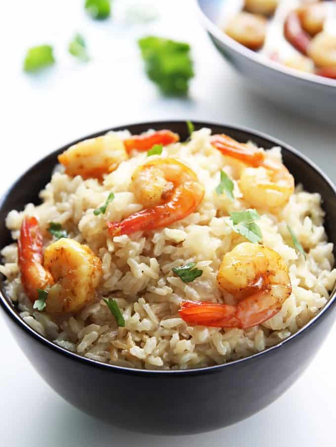 Creamy Coconut Brown Rice with Curried Shrimp is an easy, gluten free ...