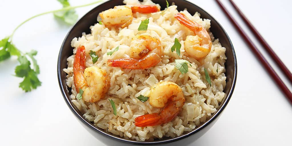 Coconut Brown Rice with Curried Shrimp » LeelaLicious