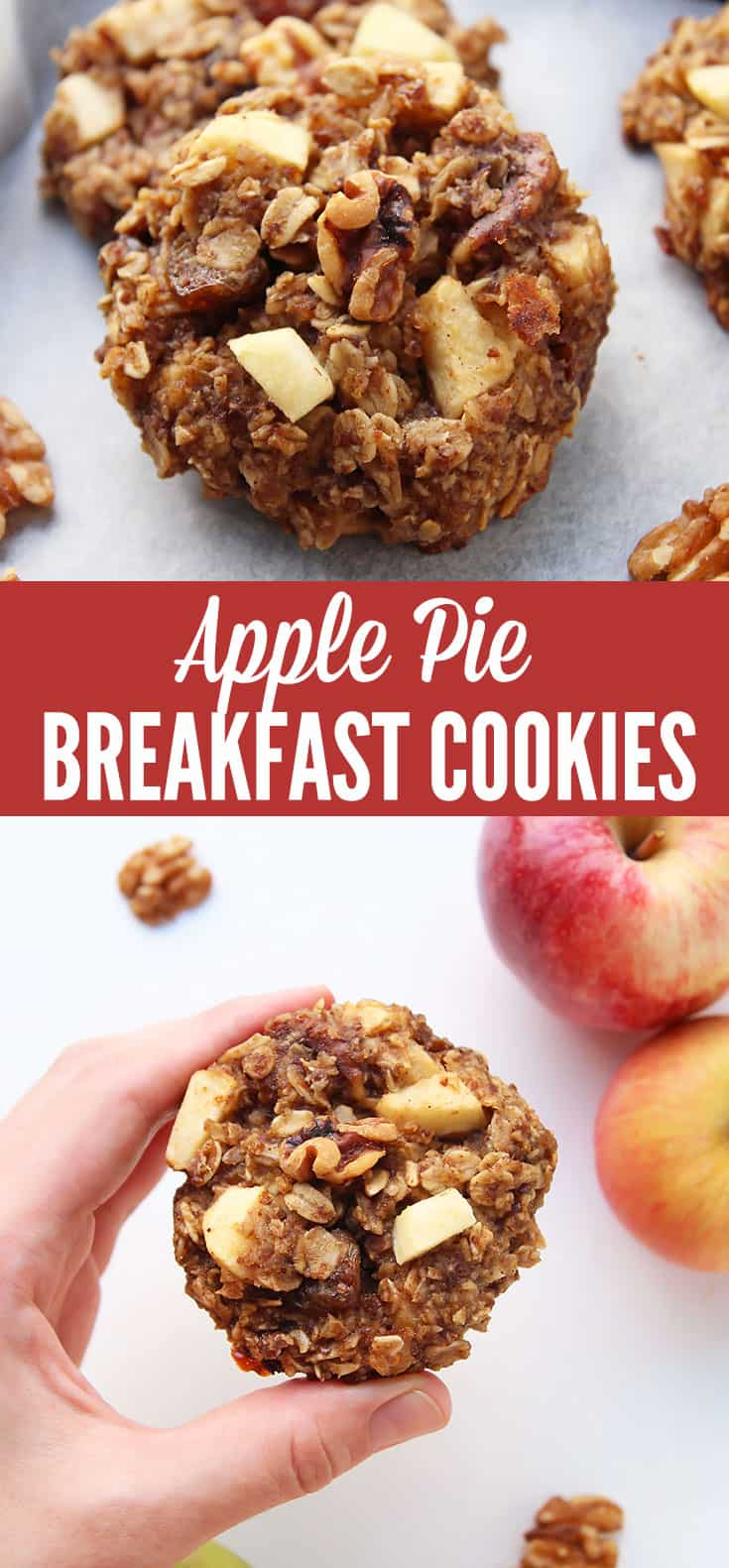 Oatmeal Breakfast Cookies with apple sauce, apple dices, walnuts, raisins and spices that make them taste like apple pie! This is one delicious, healthy way to eat dessert for breakfast. The cookies are gluten free, refined sugar free, with a vegan option.
