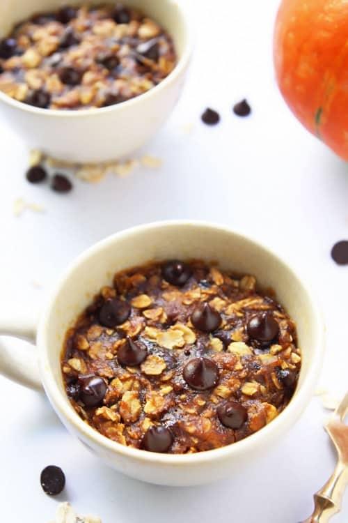 Pumpkin Chocolate Chip Oatmeal Mug Cookie