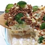 Creamy chicken rice casserole got a healthier makeover with broccoli and brown rice, cauliflower sauce and crunchy fibre-filled #AllBran topping. AD