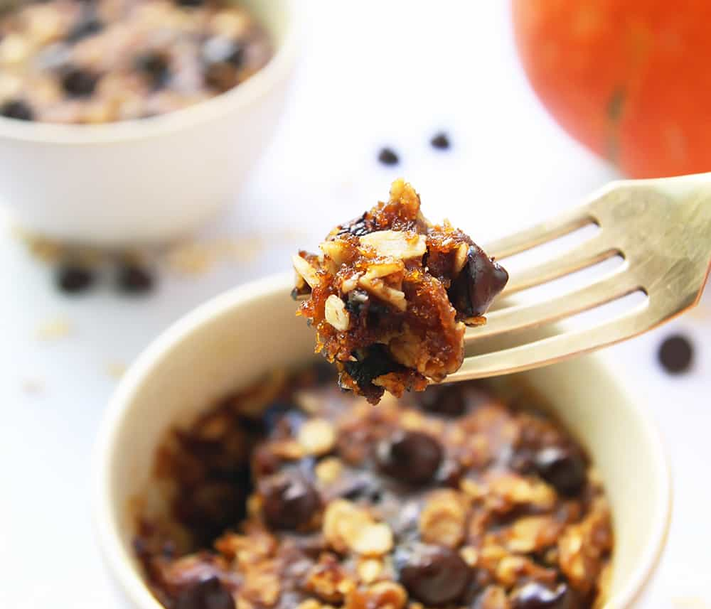 Pumpkin Chocolate Chip Oatmeal Mug Cookie