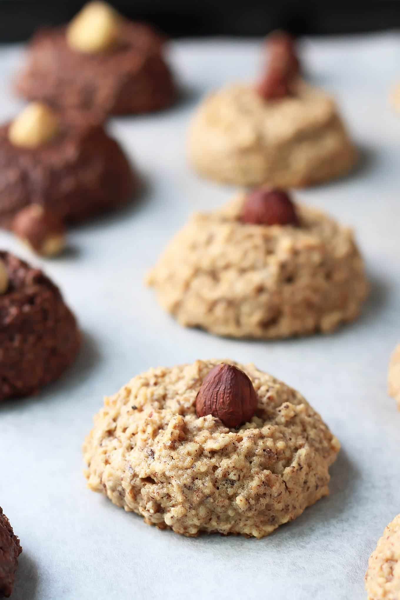Honey Hazelnut Macaroons are a holiday twist on the classic coconut version. The soft, gluten-free cookies are only sweetened with honey and paleo-friendly