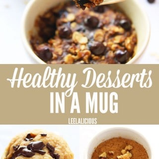 For a guilt-free quick fix of those sweet cravings, try these healthy desserts in a mug. Single servings of cake, brownies and cookies that are healthy. Gluten free, grain free, low carb and refined sugar free options.