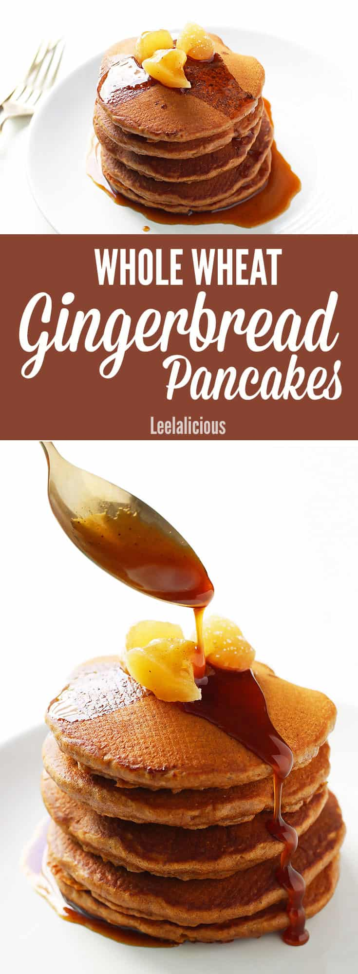 Fluffy Whole Wheat Gingerbread Pancakes with Spiced Molasses Syrup make a delicious and wholesome holiday breakfast treat that is refined sugar free.