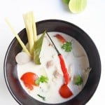 Tom Kha Gai - Thai Chicken Coconut Soup is one of the most popular Thai dishes. Galangal root, lemongrass and kaffir lime leaves are infused in a coconut milk broth, with chicken, mushrooms and hot chilies. The aromatic soup makes a delicious main course served alongside steamed rice.
