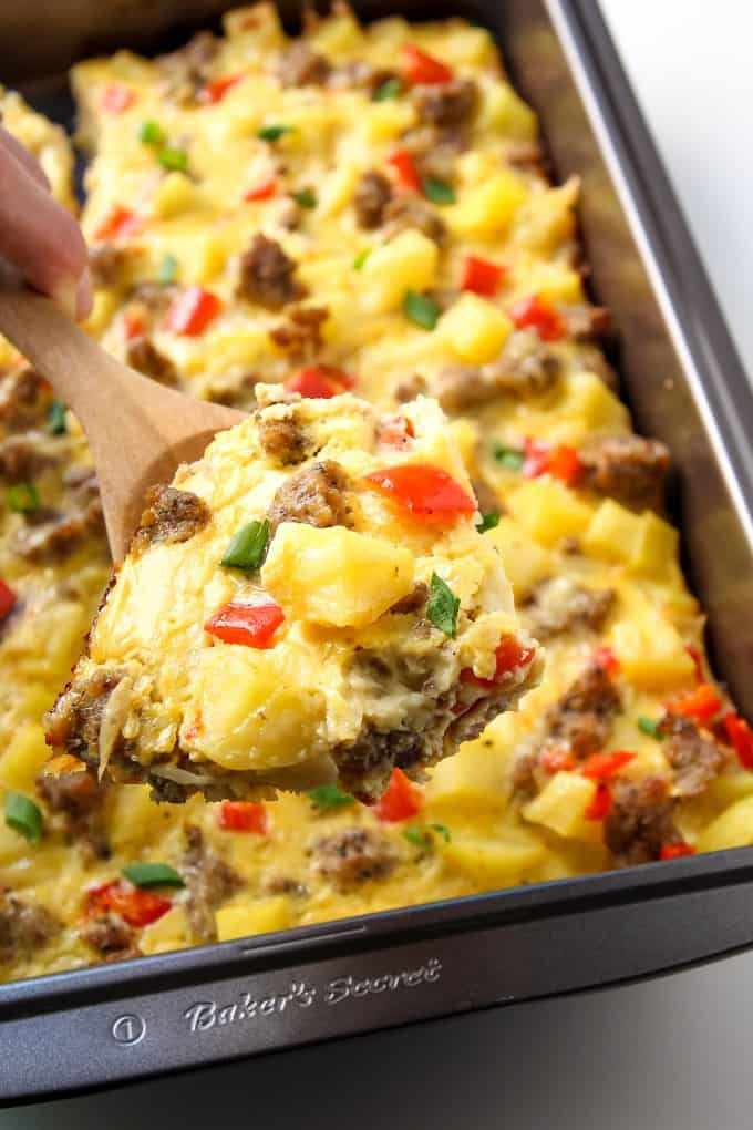 This easy breakfast casserole is a complete with eggs, potatoes and sausage. The overnight option makes this gluten free and clean eating recipe a perfect Christmas morning breakfast.