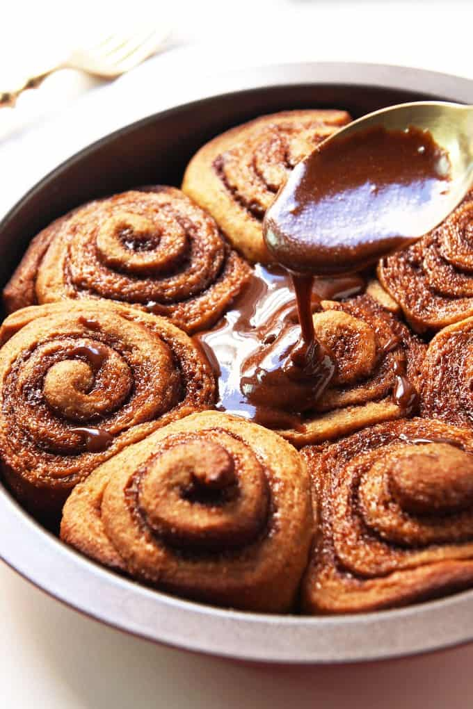 Glazing Gingerbread Cinnamon Rolls