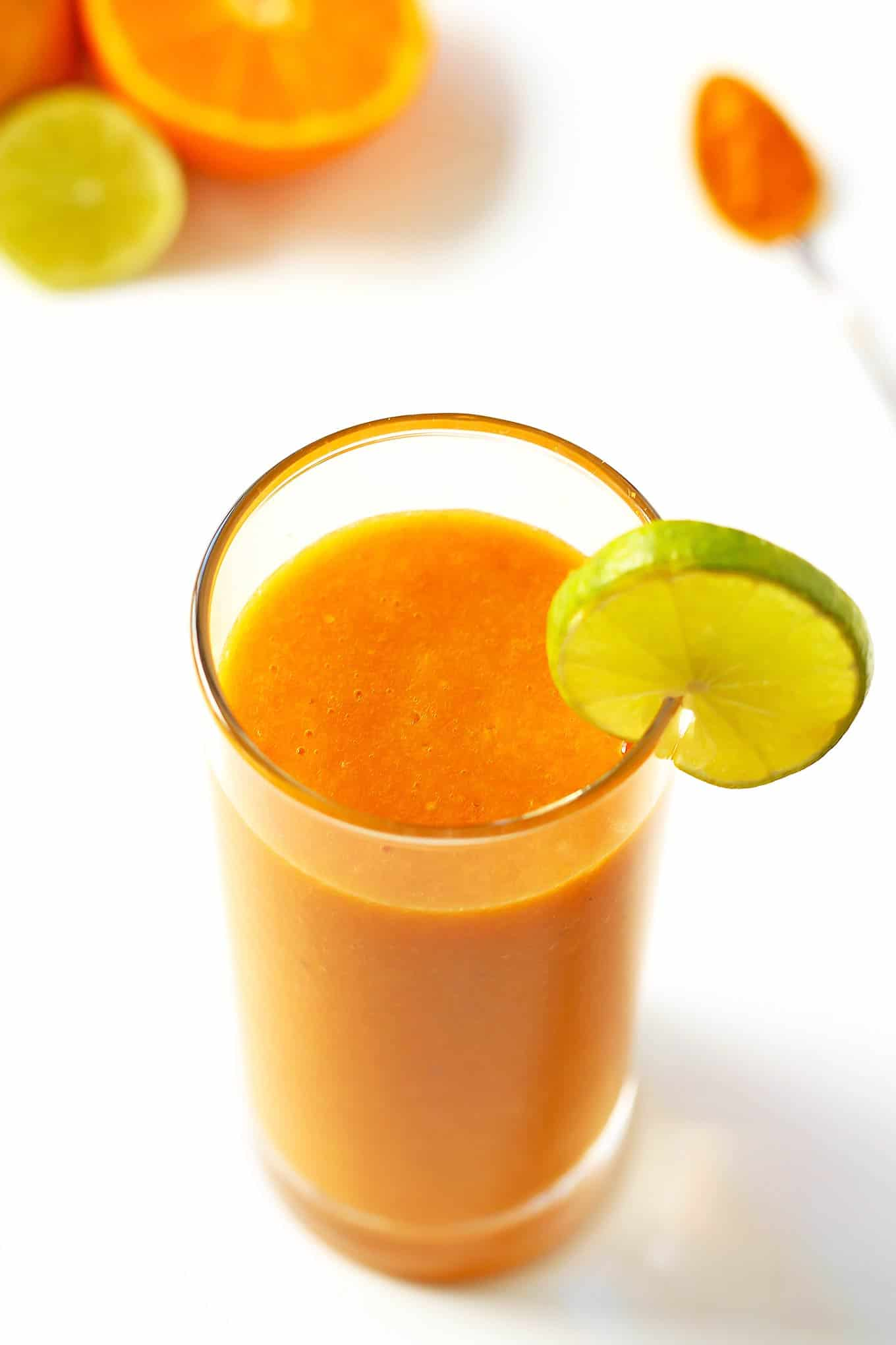 This immune boosting smoothie is made with delicious citrus fruit and carrots. This healthy smoothie recipe is high in antioxidants, vitamin C and A with ginger and turmeric for additional health benefits.