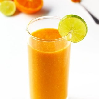 This immune-boosting smoothie is made with delicious citrus fruit and carrots. This healthy smoothie recipe is high in antioxidants, vitamin C and A with ginger and turmeric for additional health benefits.