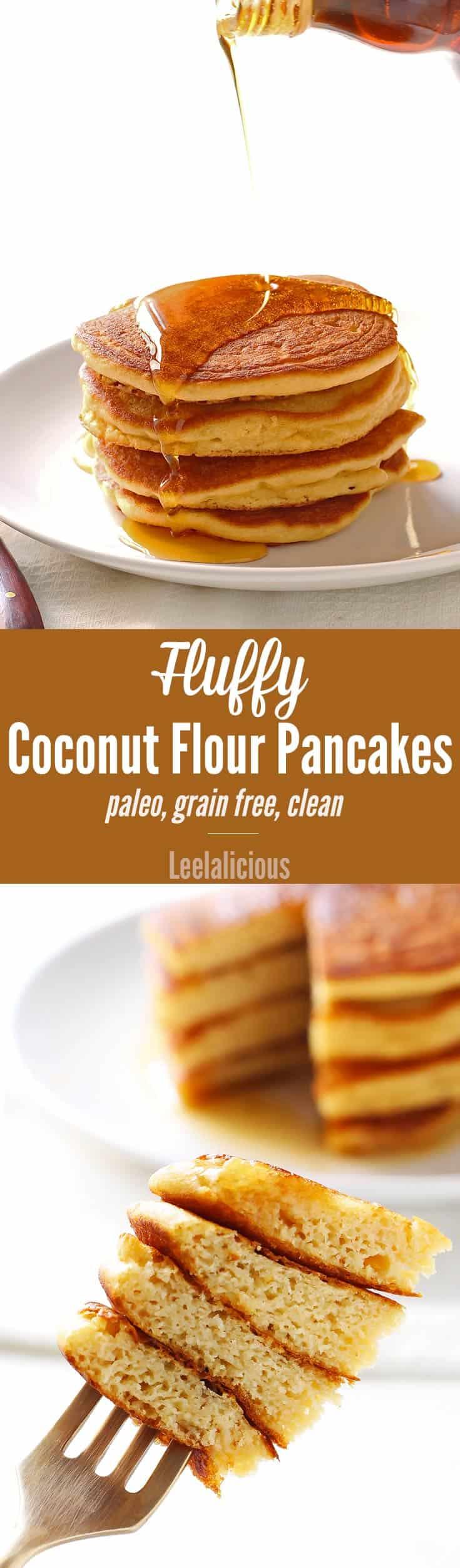 Fluffy Coconut Flour Pancakes - VIDEO • LeelaLicious