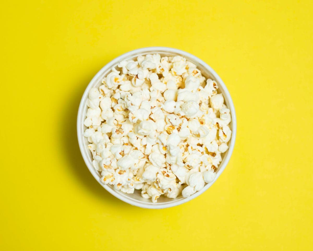 Popcorn Bowl on Yellow Background