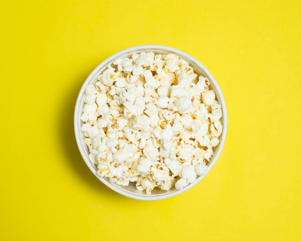 Popcorn Bowl on Yellow Background