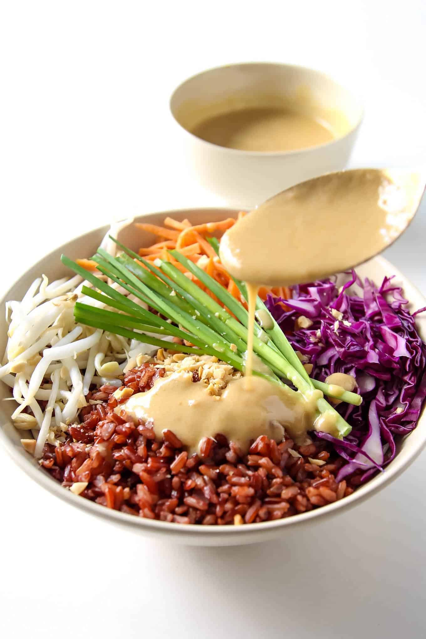 Thai Buddha Bowl with Peanut Sauce - this healthy recipe with brown rice is gluten free, vegan and clean eating.