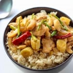 This delicious recipe for Thai Cashew Chicken Stir Fry is super quick to make delivers big time on authentic Asian flavors. It is perfect for easy, weeknight dinners.