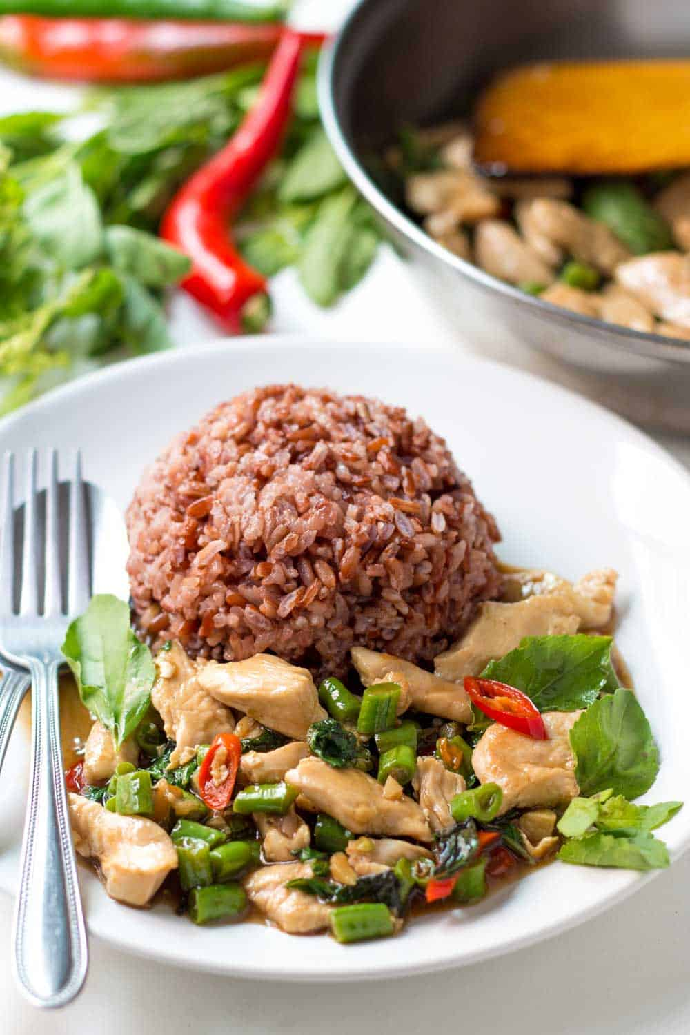 Thai Basil Chicken Stir Fry is a quick and easy dish that is ...