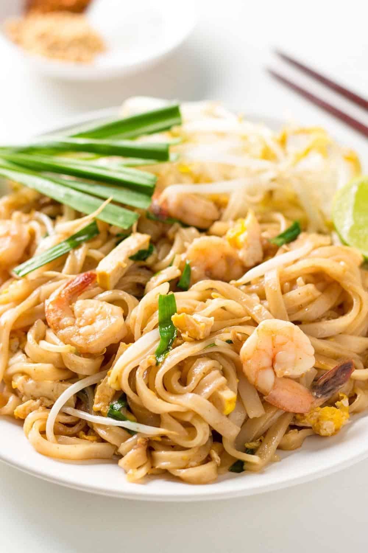 Shrimp Pad Thai on Plate