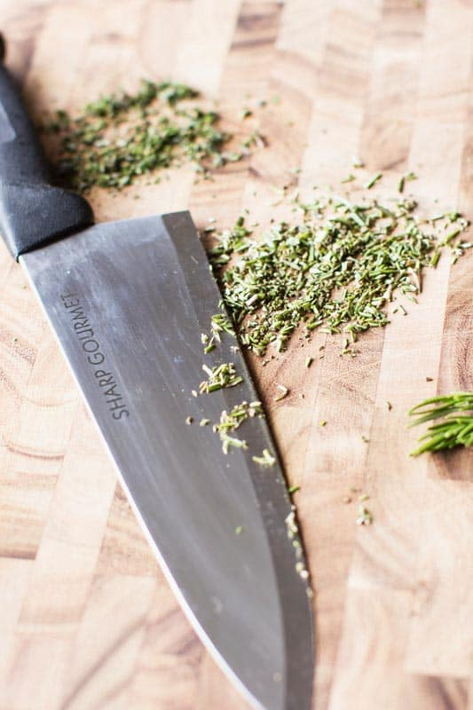 Chopping Herbs with Sharp Gourmet Knife