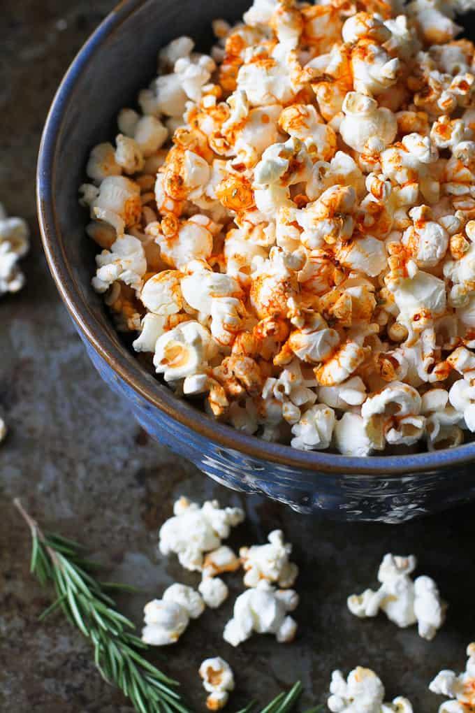 Smoked Paprika Rosemary Popcorn