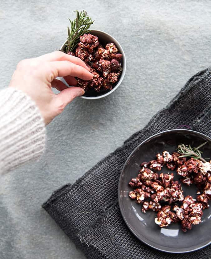 Dark Chocolate Rosemary Popcorn