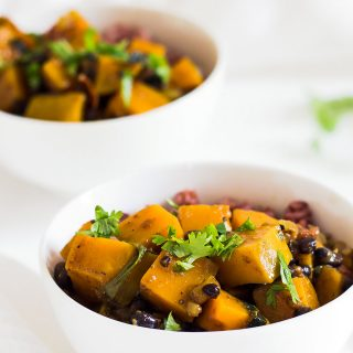 This Butternut Squash Black Bean Curry is a hearty vegan comfort food dish. It is made 'from scratch' without the need for curry paste and is delicious served with steamed rice.