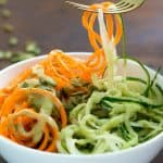 Spiralized Carrot & Cucumber Noodles Salad with Avocado Dressing