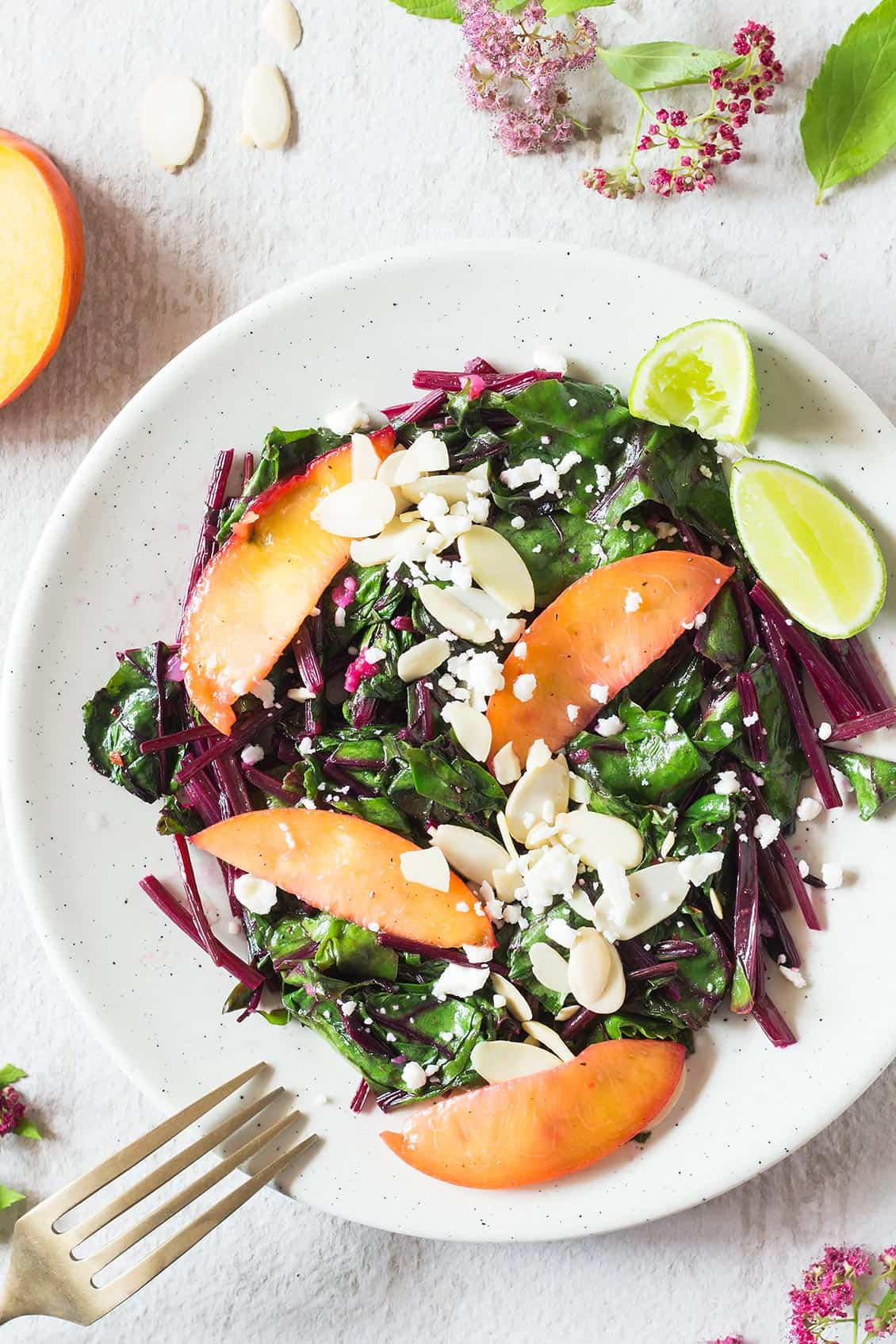 Sautéed Beet Greens with Nectarine and Feta