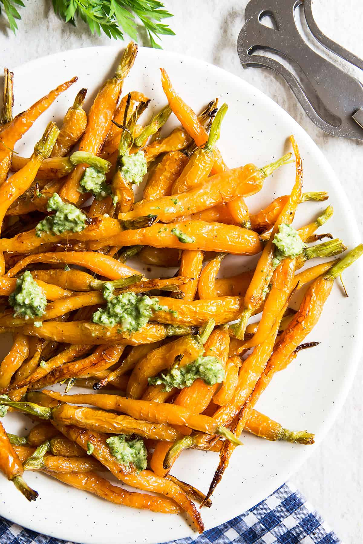 ... fittingly for a glazed carrots recipe – used this carrot top pesto