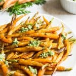 Maple Roasted Baby Carrots with Pesto