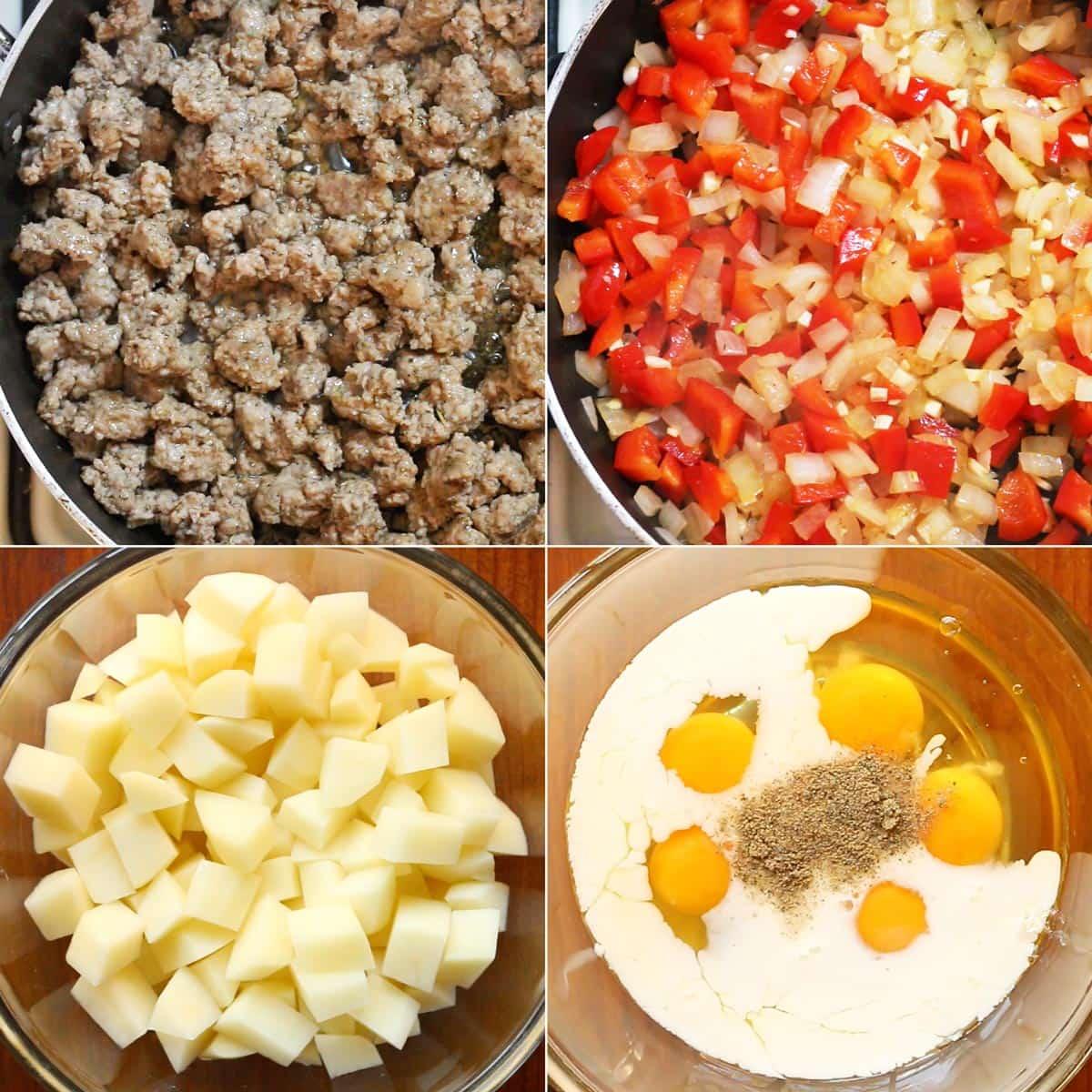 Ingredient collage: 1. Cooked sausage 2. sautéed veggies 3. potato cubes 4. egg mix