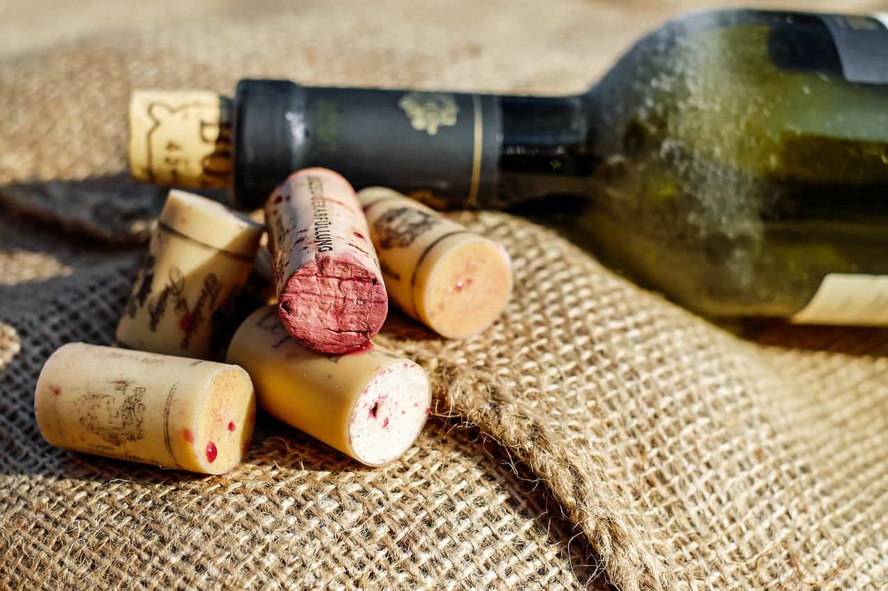 Wine bottle and corks