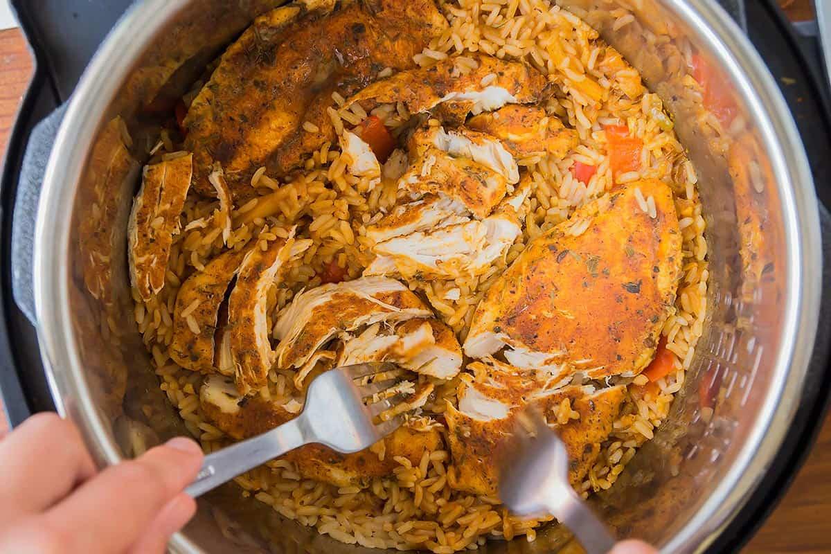 Shredding Chicken with Rice