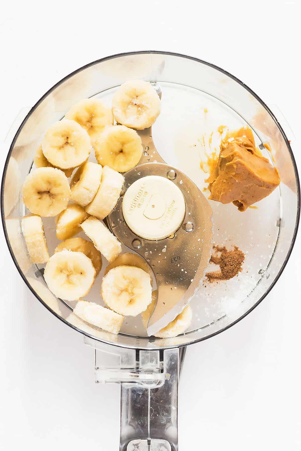 Bananas and PB in Food Processor