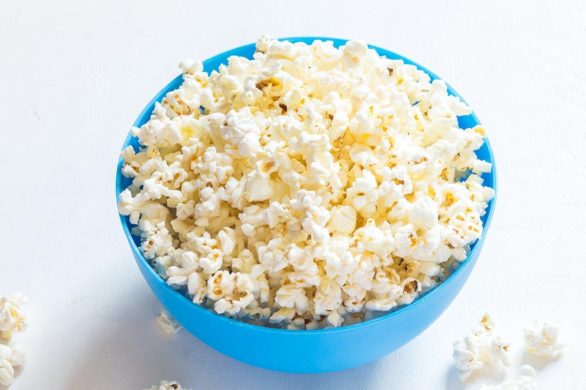 Popcorn in Blue Bowl