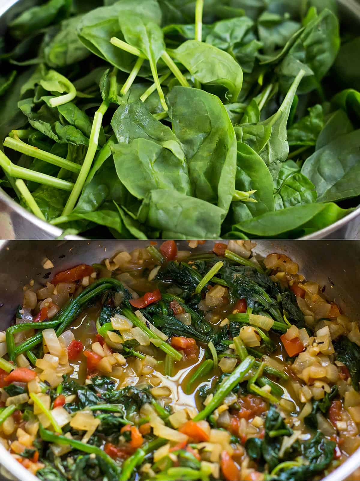 Cooking Chickpea and Spinach Curry