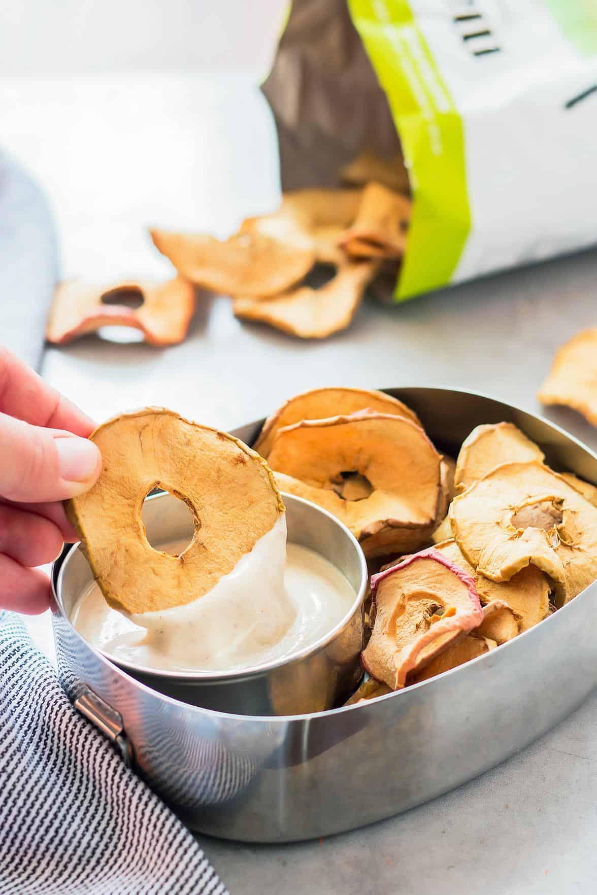 Healthy Fruit Dip with Greek Yogurt in lunch box