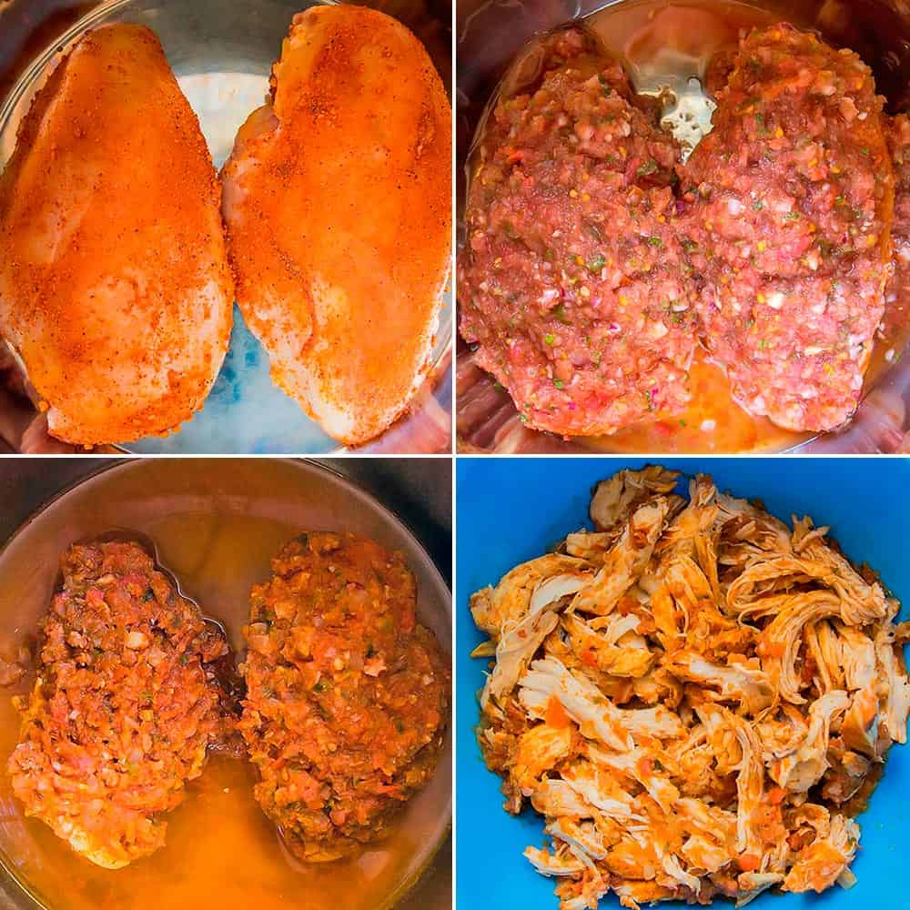 How to Make Shredded chicken in the Instant Pot - 4 stage picture collage