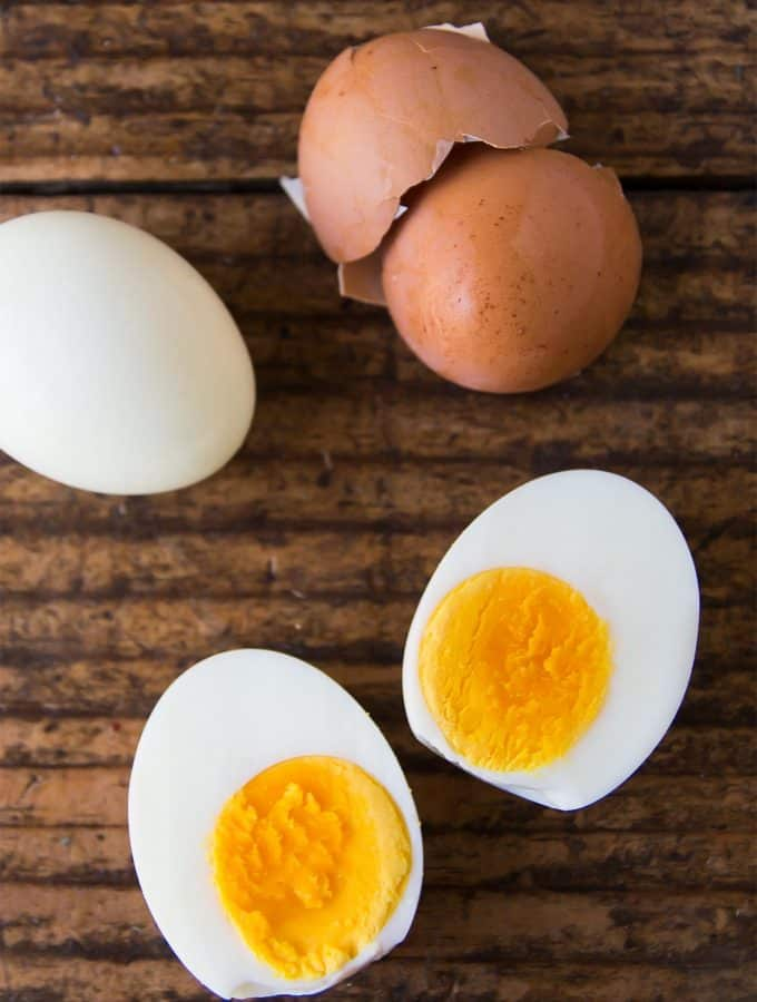 Pressure Cooker Hard Boiled Eggs peeled and cut open