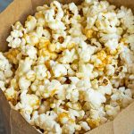 Healthy Caramel Corn in paper bag