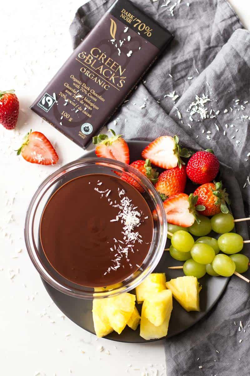 Dark Chocolate Fondue Fruit Platter