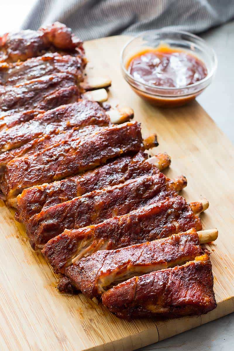 BBQ Ribs on a cutting board