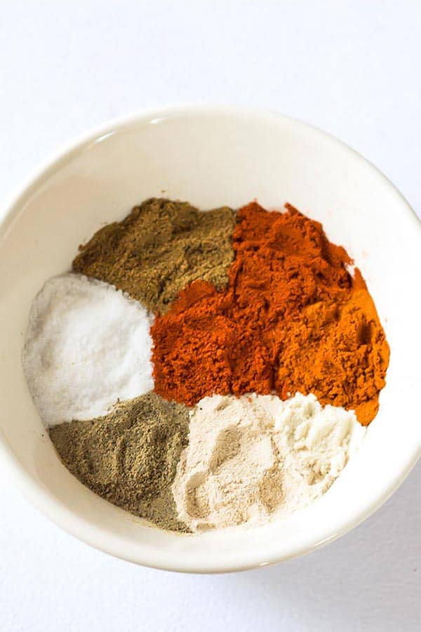 Individual Chili Seasoning Ingredients in a bowl