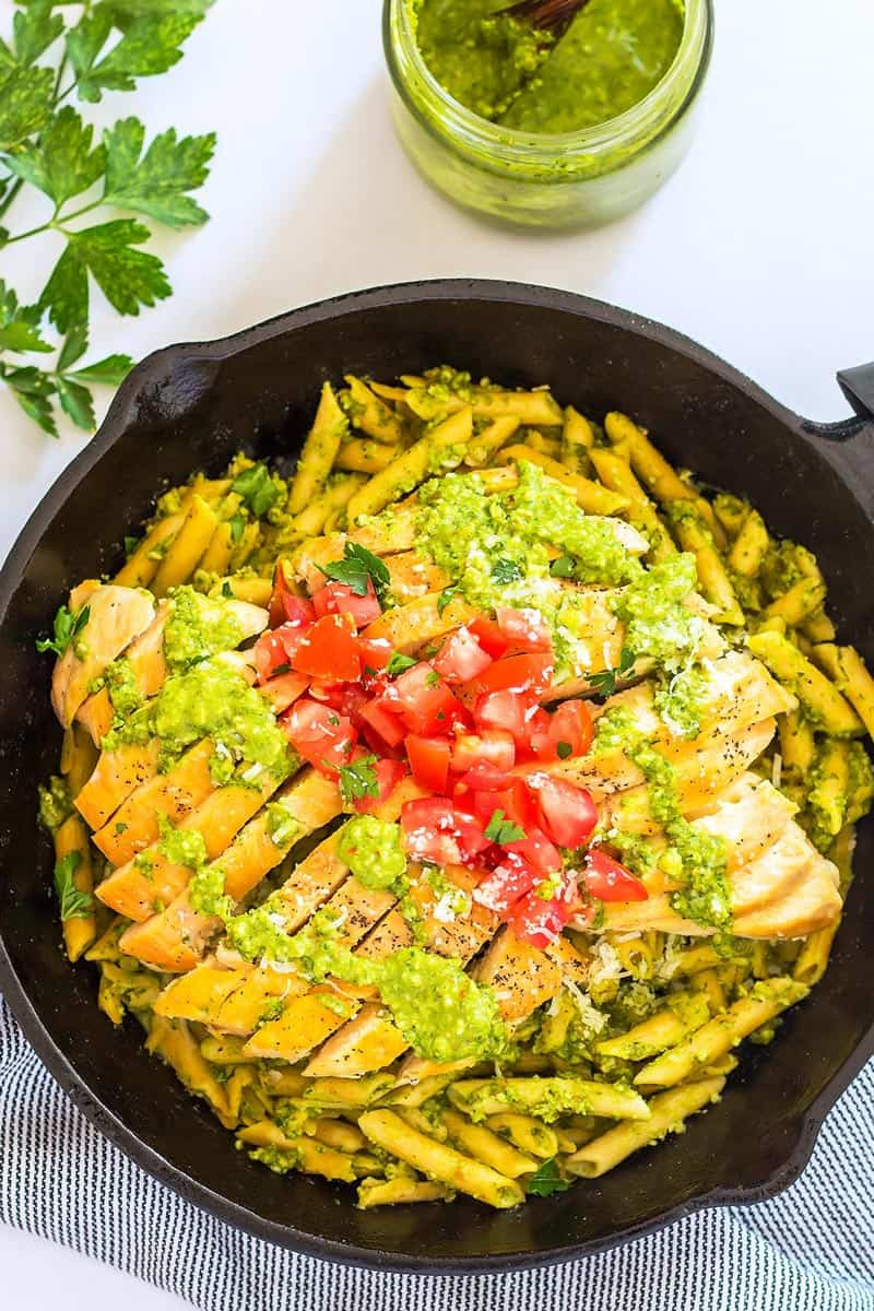 Pesto Chicken Pasta in a cast iron skillet