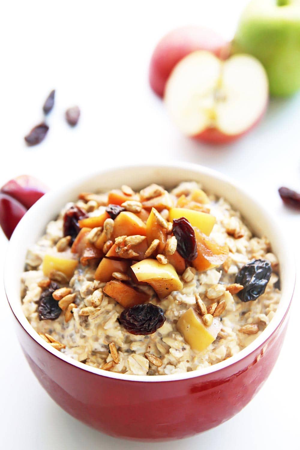 Apple Cinnamon Overnight Oats in red bowl